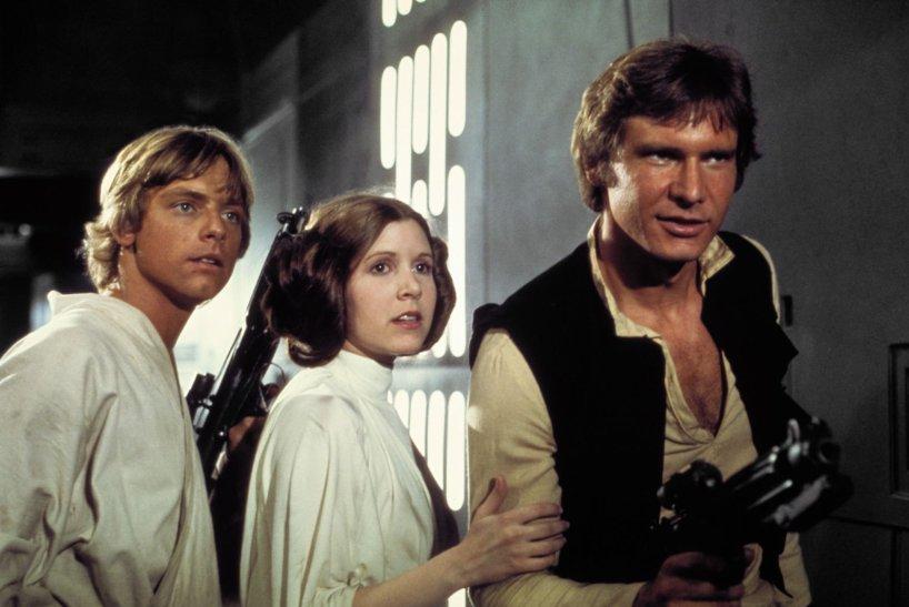 O trio Luke, Leia e Han Solo