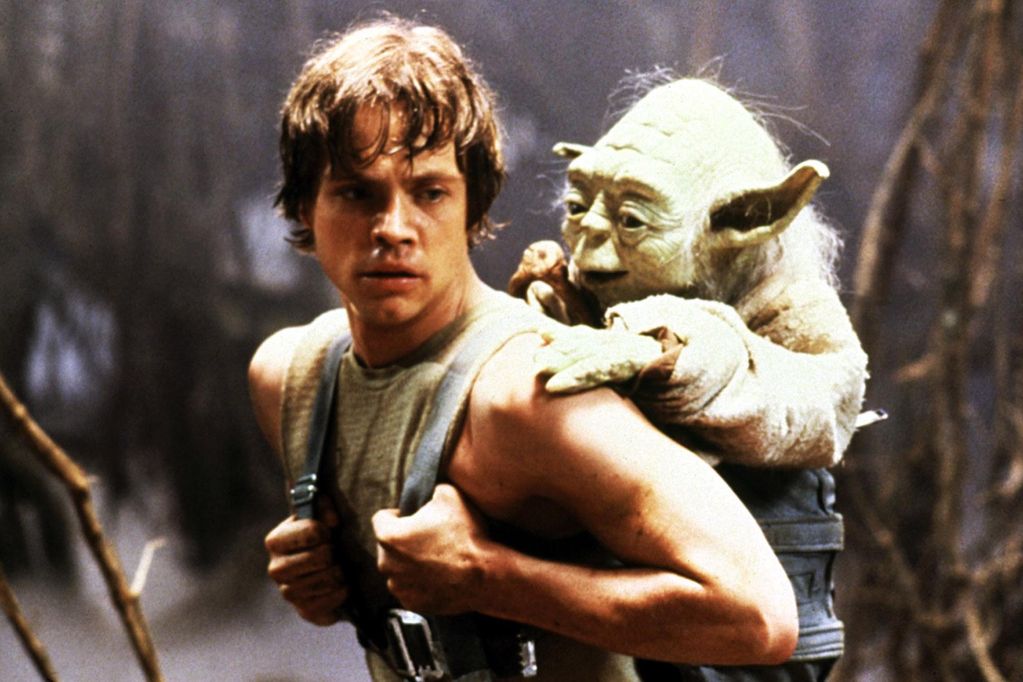 Luke com o Yoda em versão boneco