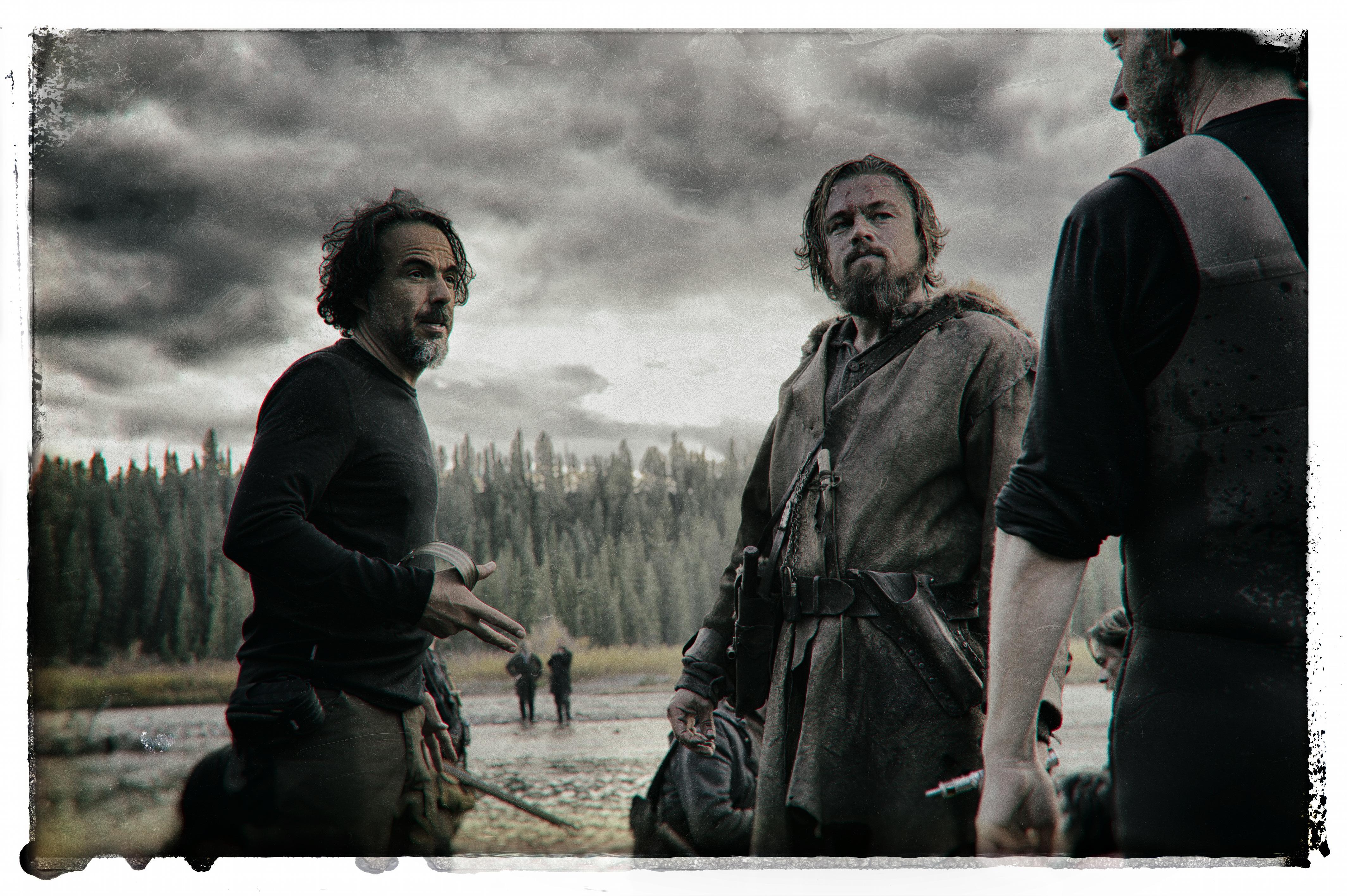 Iñárritu e DiCaprio no set de 'O Regresso'