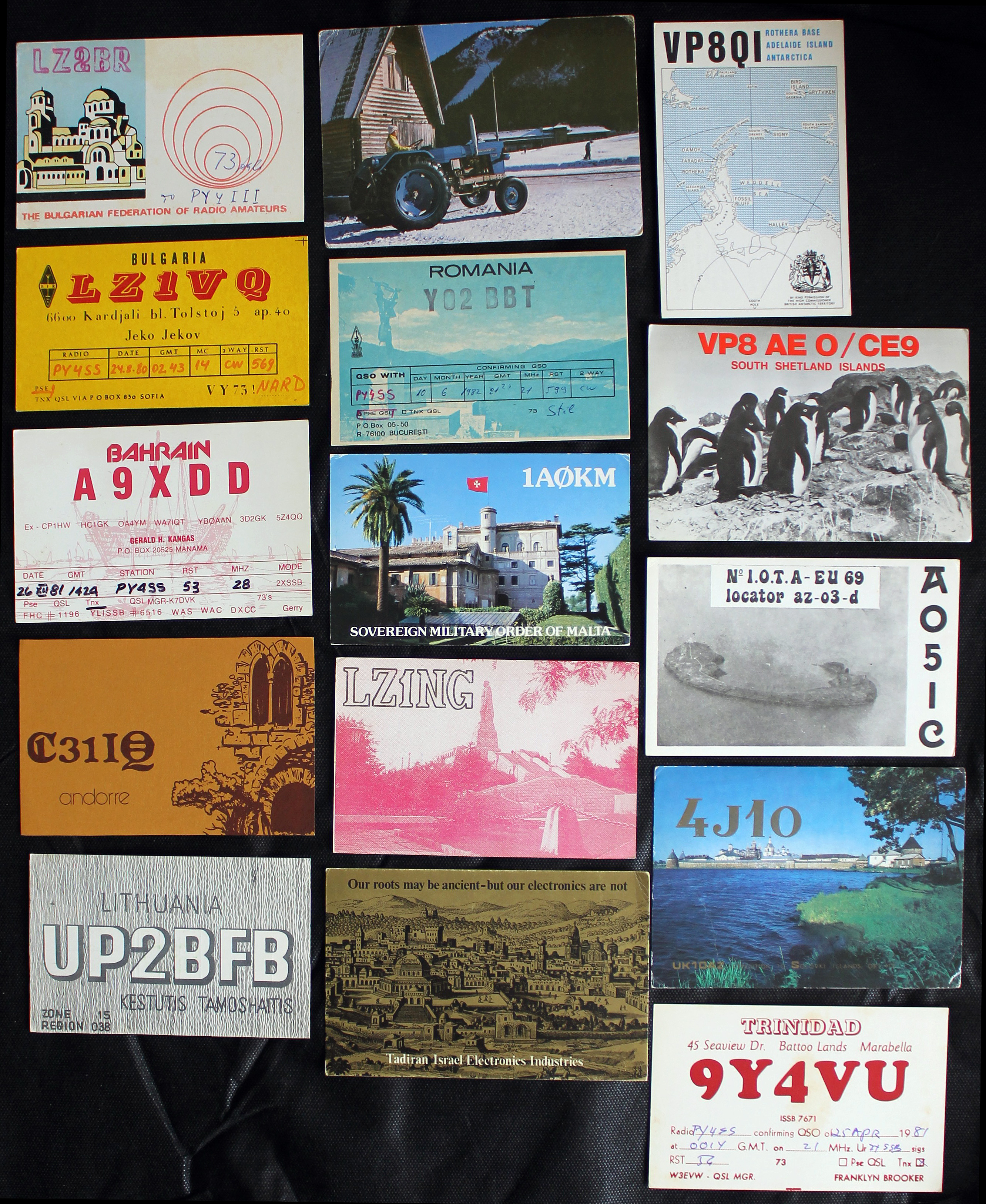 Cartões de origens variadas, parte da coleção de Lena
