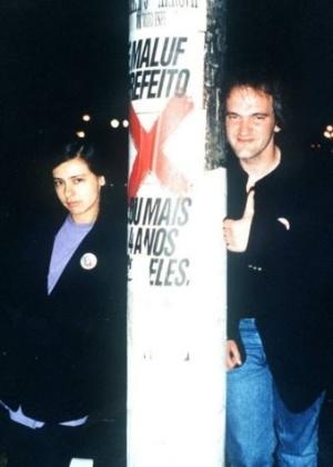 Renata e Quentin Tarantino, em São Paulo, 1992. Crédito: Arquivo pessoal